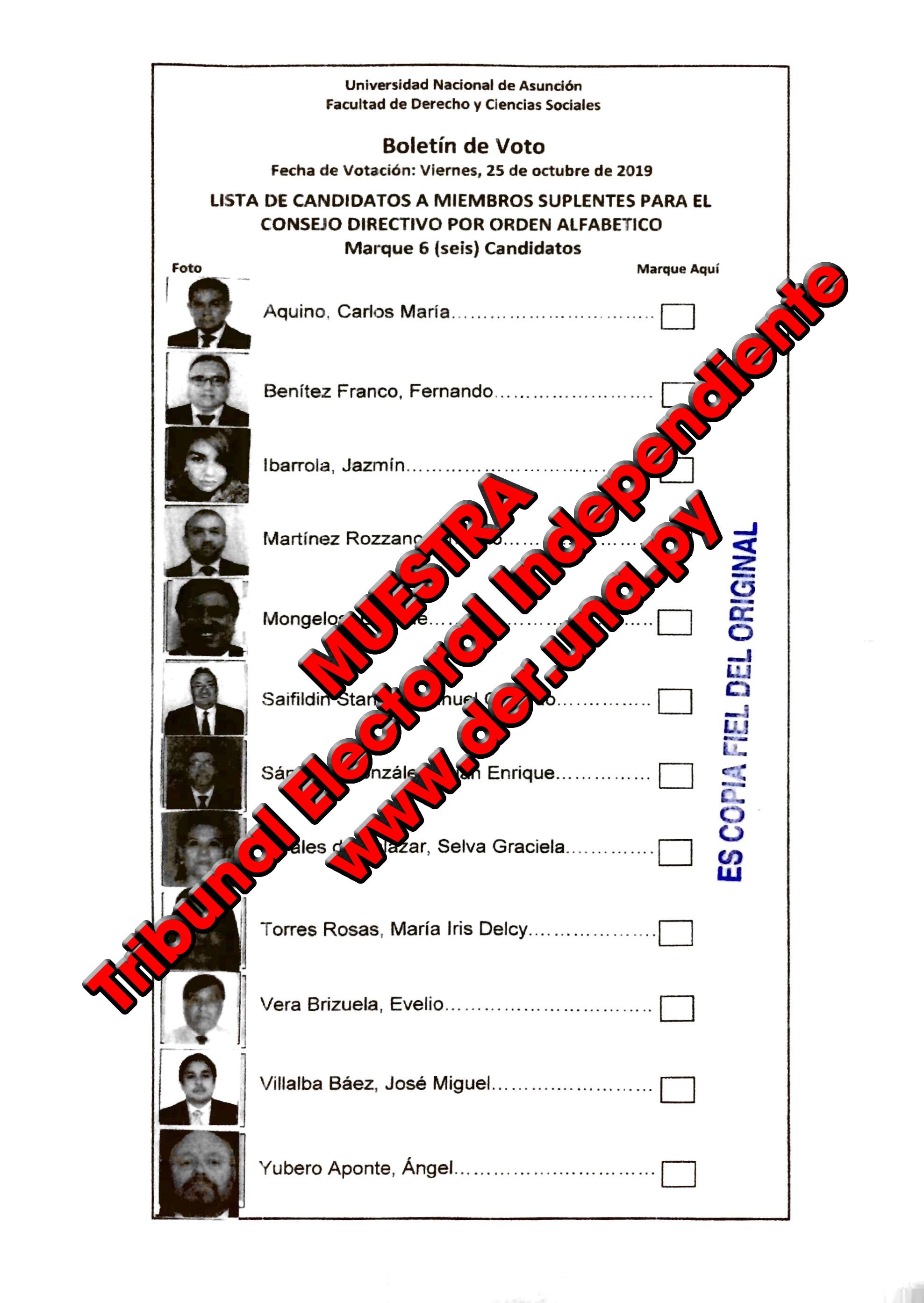 Lista de candidatos a Miembros Suplentes ante el Consejo Directivo